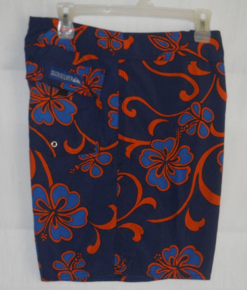 3027e2243a Mens Quiksilver Board Shorts 32 Vtg 90's Hawaiian Navy Blue Orange Surf  #Quiksilver #BoardShorts