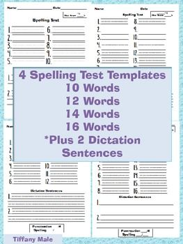 multiple choice spelling test template - spelling test templates with up to 16 words punctuation