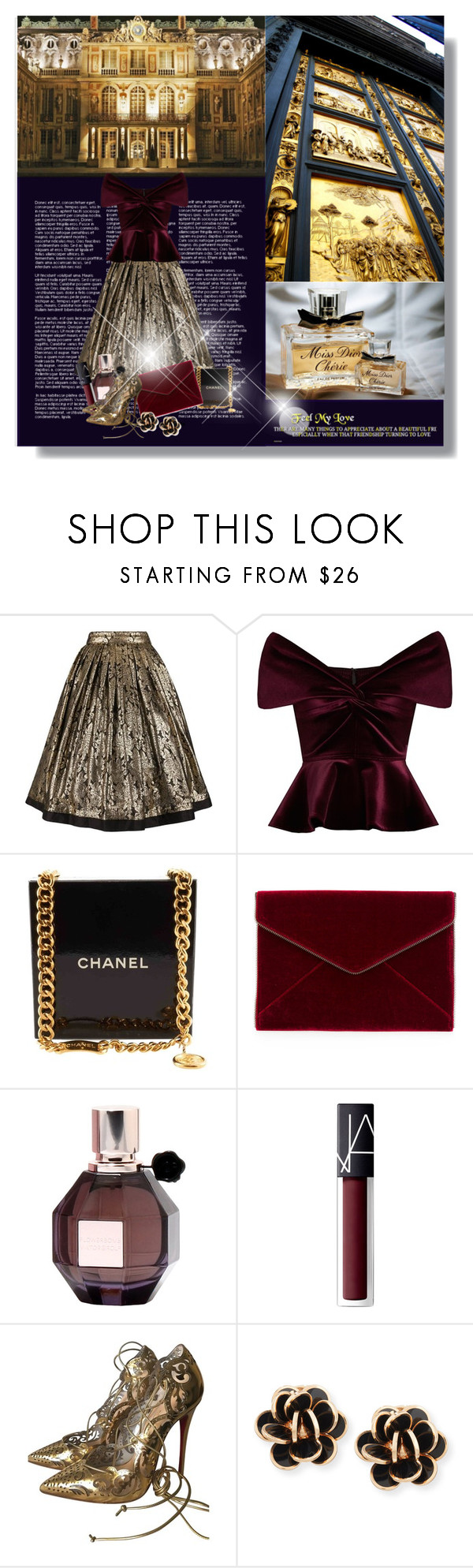 """Golden time"" by beograd-love ❤ liked on Polyvore featuring Versace, Emilio De La Morena, Chanel, Rebecca Minkoff, Viktor & Rolf, NARS Cosmetics, Christian Louboutin and Chantecler"