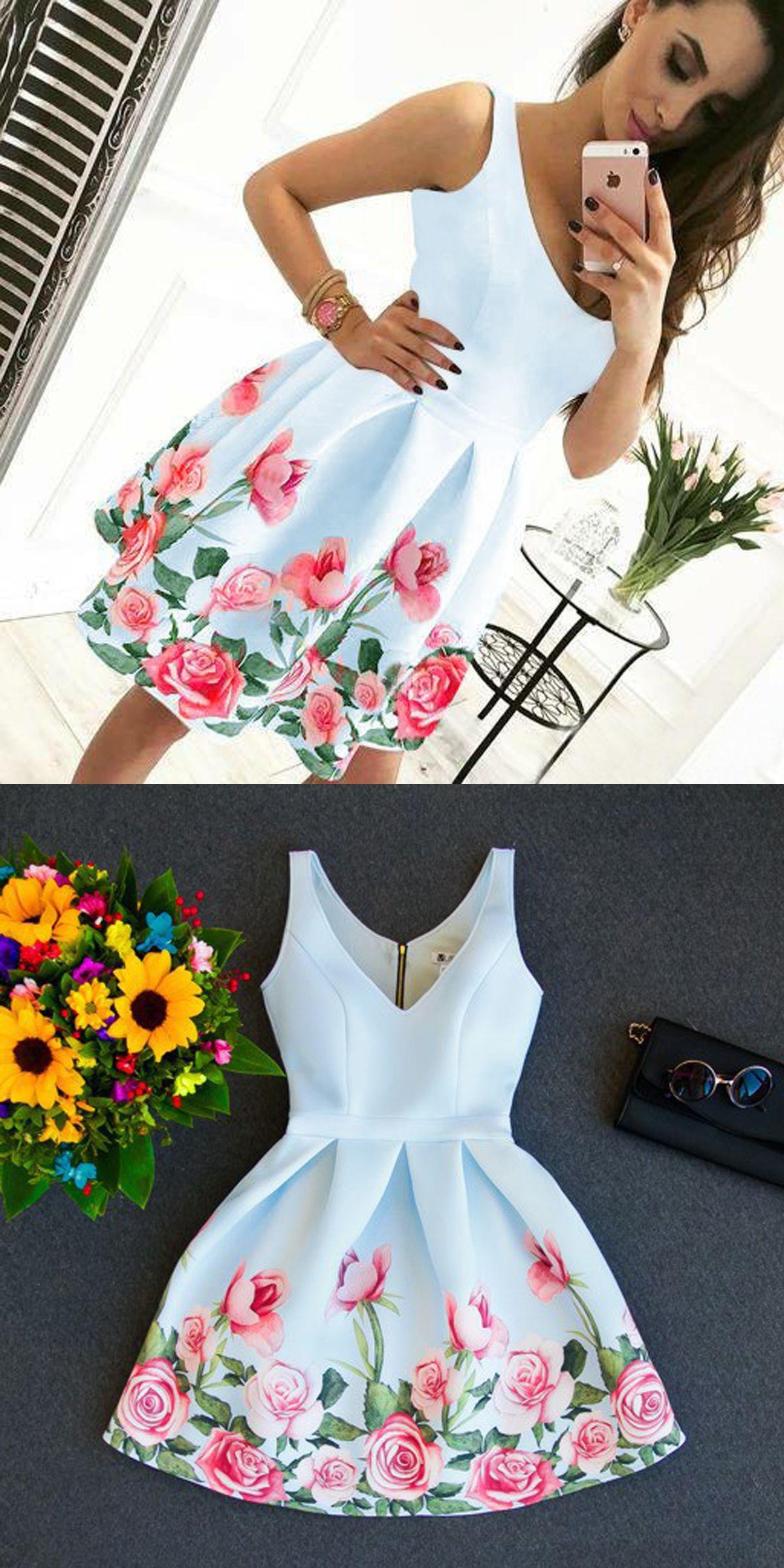 Aline vneck short white floral satin homecoming dress homecoming