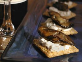 Easy Smoked Oyster Snack I use baguette or crostini; add hot sauce to the cream cheese. Couldn't be easier or faster, and everyone loves them! Also  good w mussels