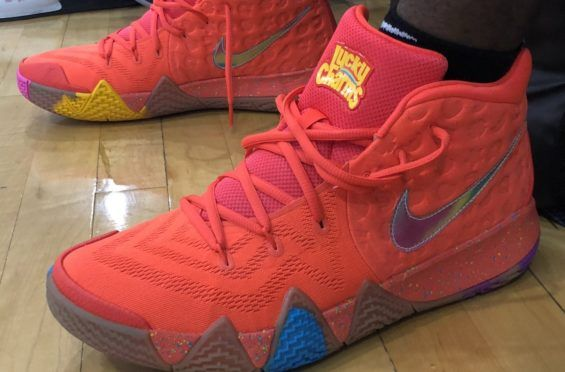 """separation shoes 13cad 977aa he got the """"Lucky Charms"""" marshmallow shapes on the sides. General Mills  Cereal collection is 🔥. Nike Kyrie 4 ..."""