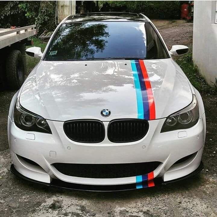 M5 E60: BMW E60 M5 White ///M Stripe