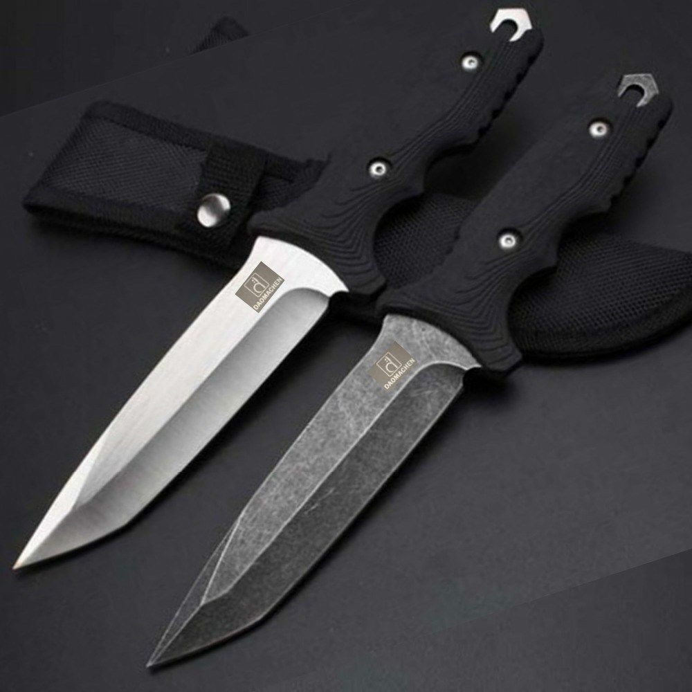 high carbon steel forging fixed blade tactical hunting knife stone