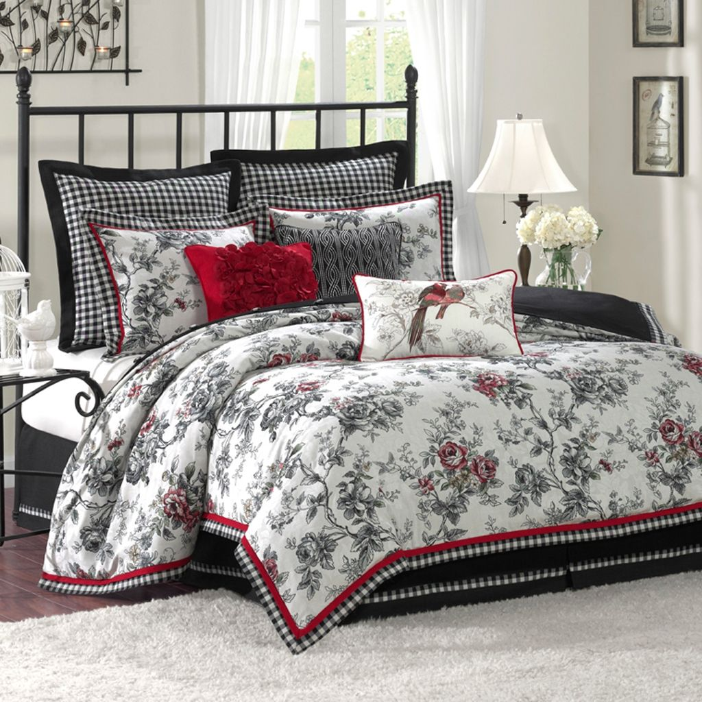 White and red bed sheets -  Bedding Sets Vivahomedecor