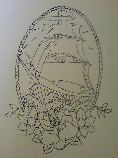 tallship tattoo design | Mermaid tattoos, Pirate ship ...