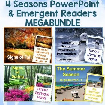 Four Seasons PowerPoint  Emergent Readers MEGABundle Seasons