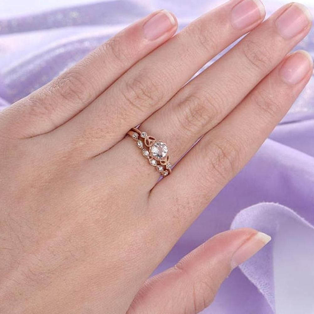 Moissanite Wedding Ring Rose Gold Over Silver 1.41 Ct White Round ...