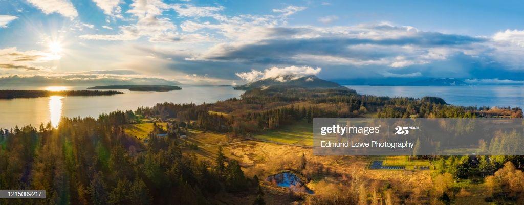 Aerial Sunrise Panorama Of Lummi Island Washington Photography #Ad, , #Aff, #Panorama, #Sunrise, #Aerial, #Lummi