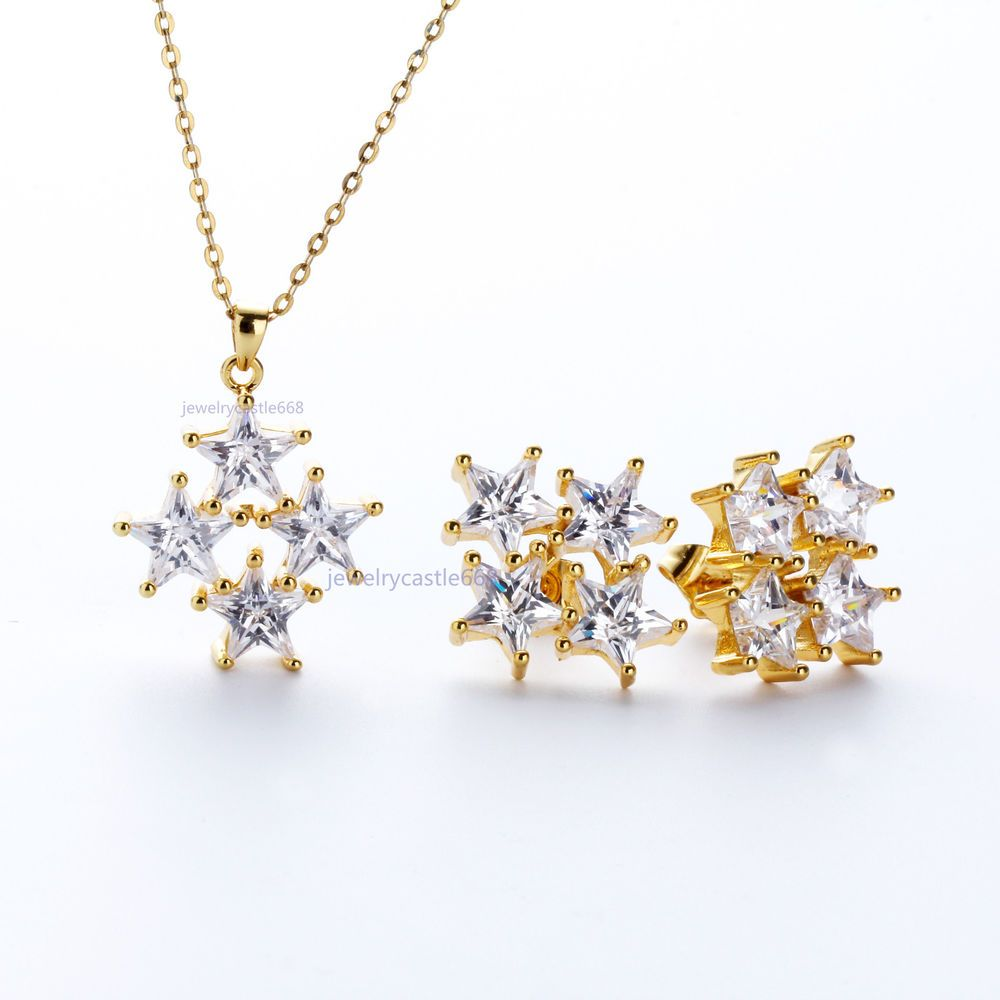 Austrian clear crystal k gold filled engagement wedding necklace