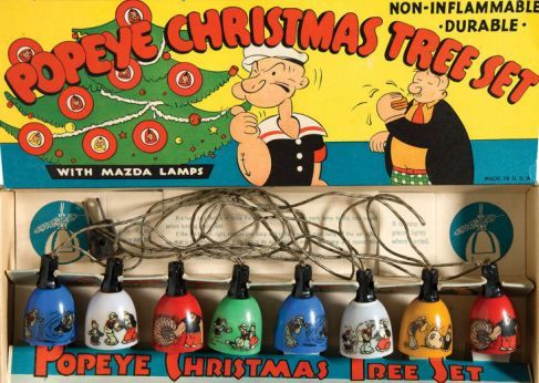 1936 Popeye Christmas tree light set with GE Mazda Lamps ...