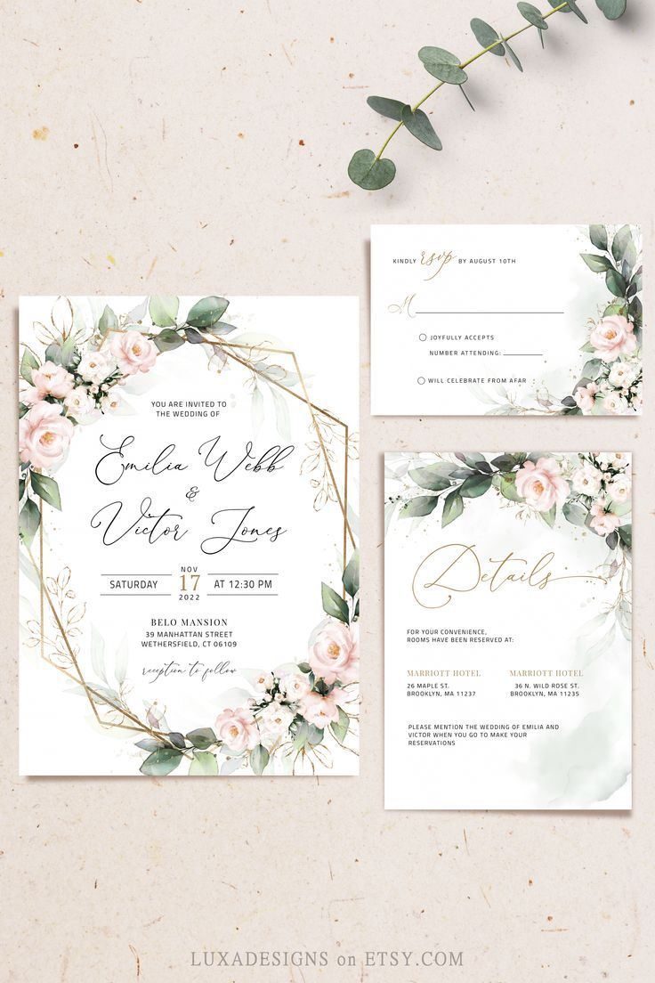 Lilian blush wedding invitation set blush and green