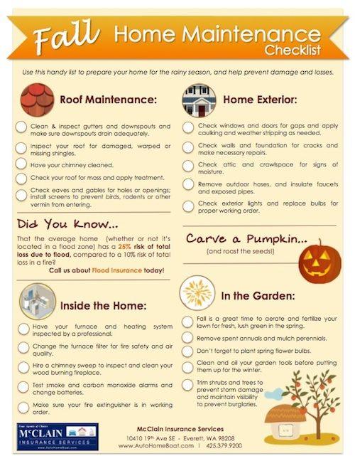 Fall Home Maintenance Checklist Mcclain Insurance Home Maintenance Home Maintenance Checklist Autumn Home