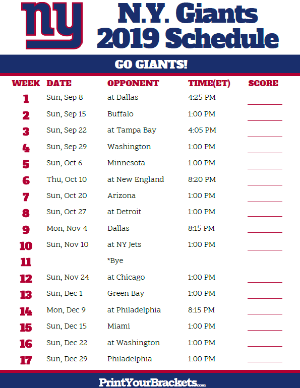 New York Giants 2019 Schedule Printable New York Giants Schedule   2019 Season | Printable NFL