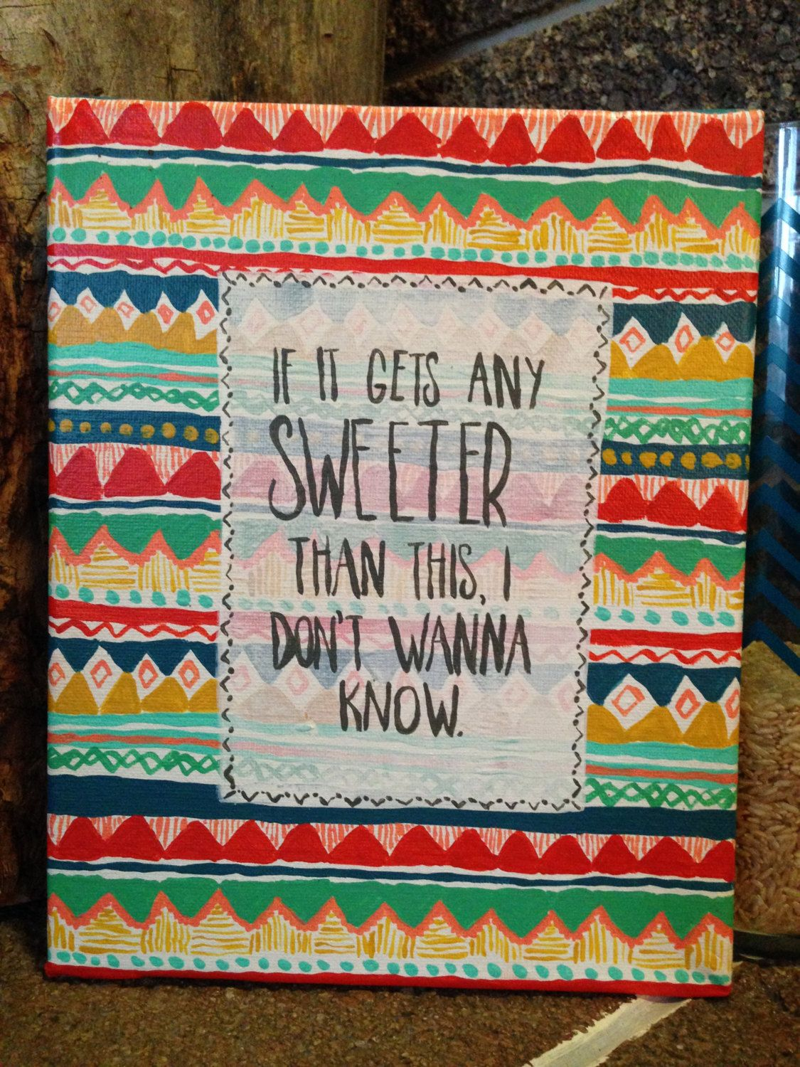 Sweeter Than This Aztec Canvas by MyGoldenArrow on Etsy