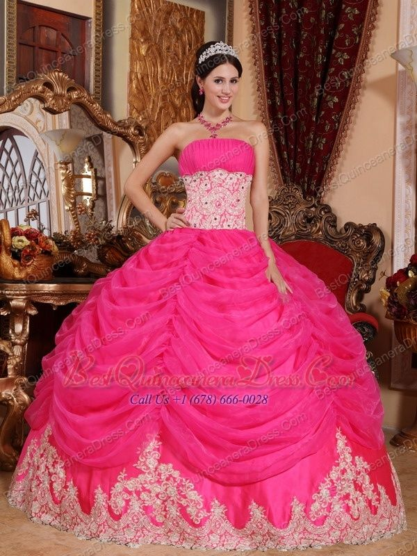 Home :: Ball Gown Dresses :: Hot Pink Ball Gown Strapless Floor ...