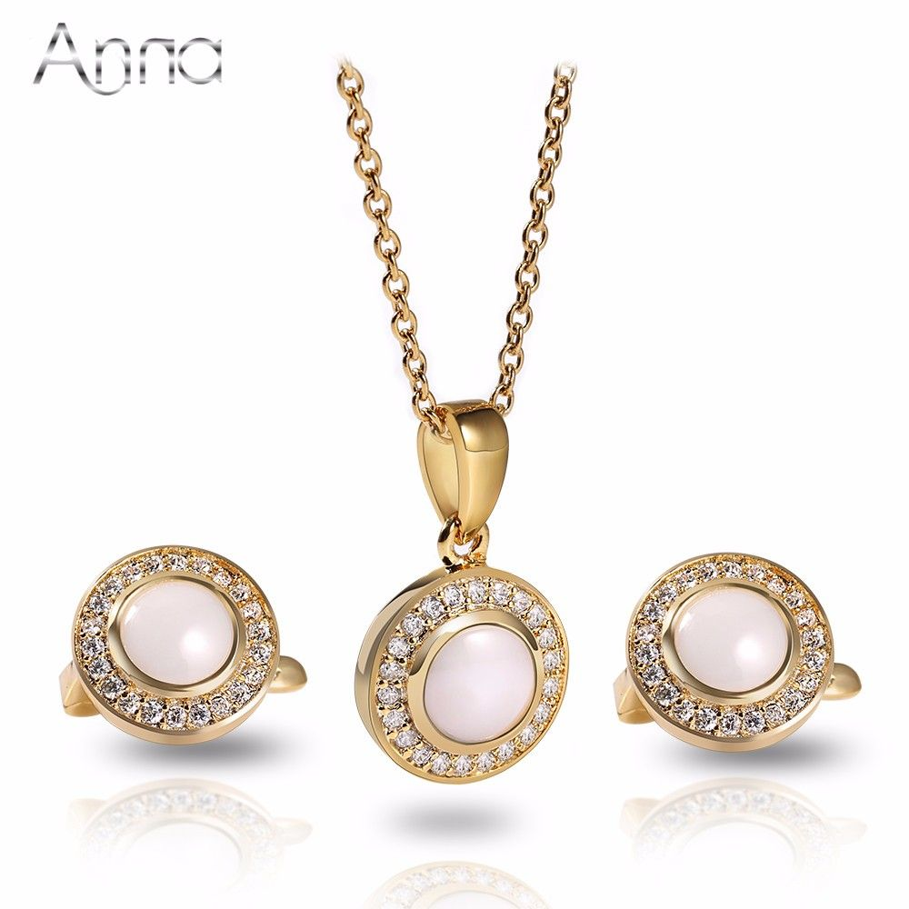 Aun luxury ceramic jewelry sets european classic zircon stainless