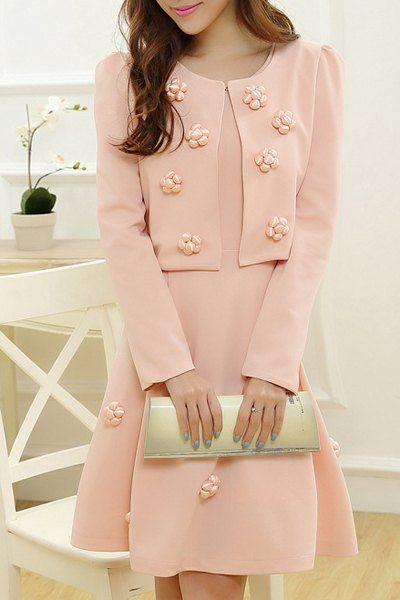 Sweet Scoop Neck Long Sleeve Flower Embellished Jacket + Solid Color Sundress Twinset For Women