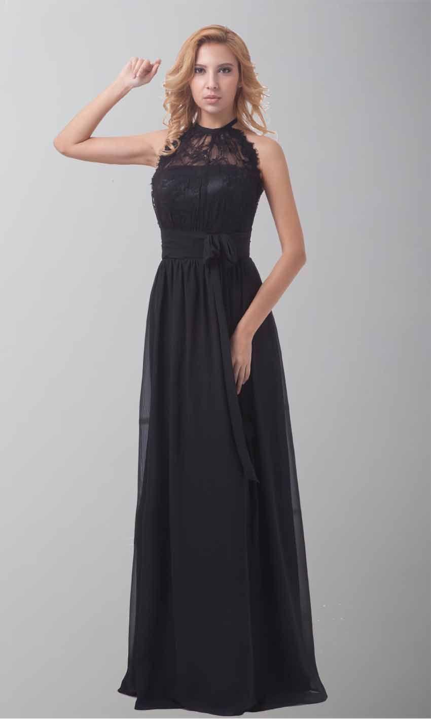 Halter Long Black Lace Formal Dress With Belt Ksp212 Dresses