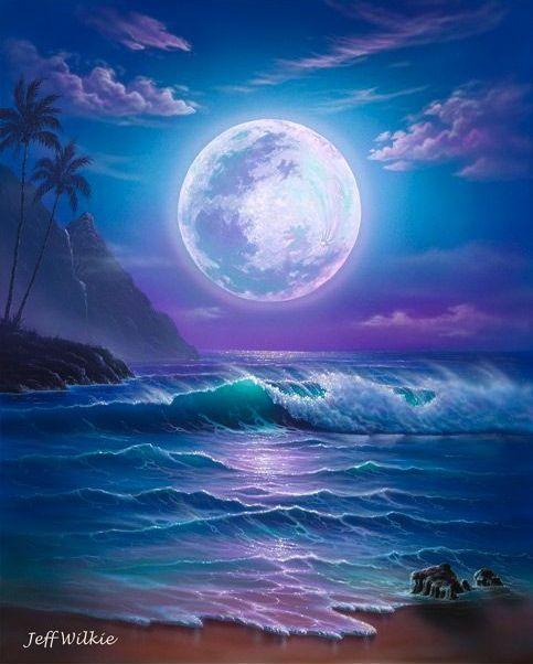 Appaloosa Dreams Artist Jeff Wilkie Fantasy Landscape Moon Beach Beautiful Moon