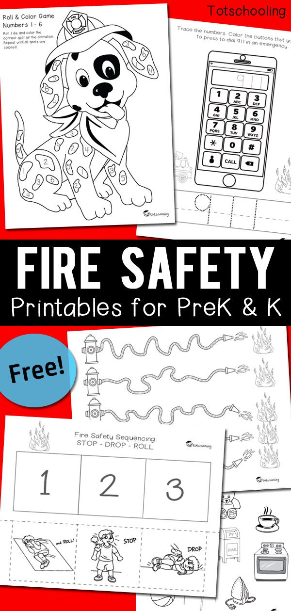 FREE Printable Fire Safety Pack Including Stop Drop Roll Sequencing Dialing 911 In An Emergency Objects That Are Safe To Touch Or Not Plus A Fun
