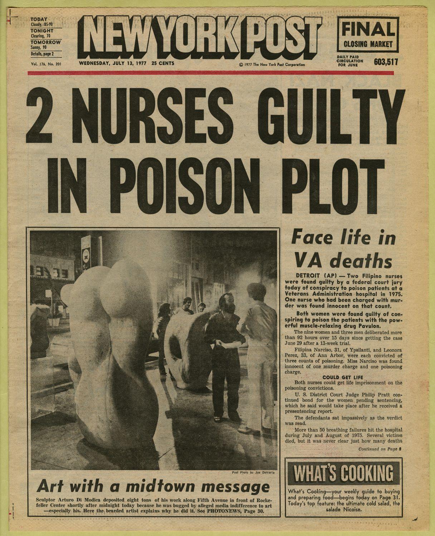 Newspaper headline (2 nurses guilty in poison plot, The
