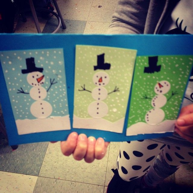"""Amira's sticker snowman card."""