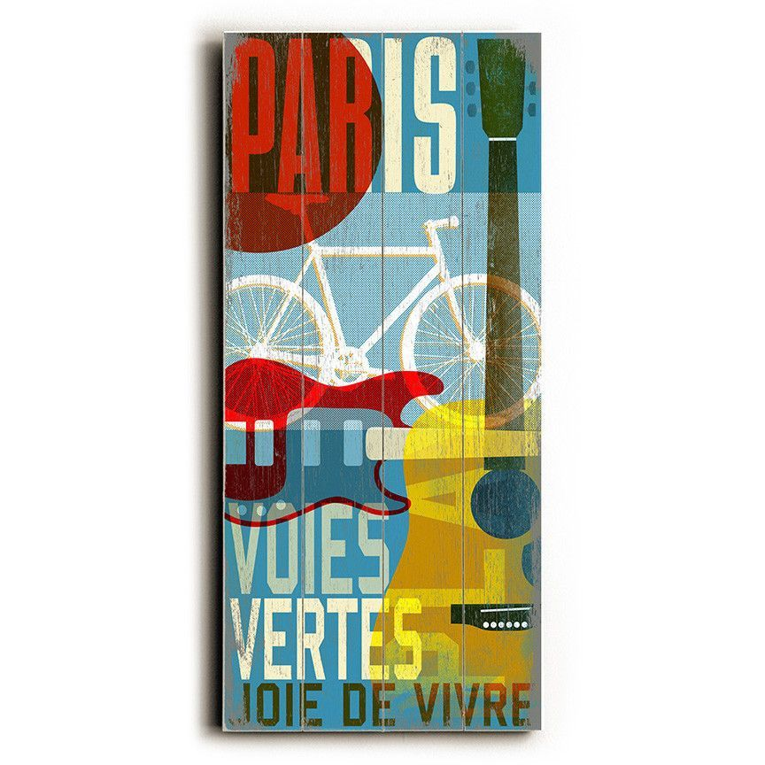 Paris Cycle by Artist Cory Steffen Wood Sign