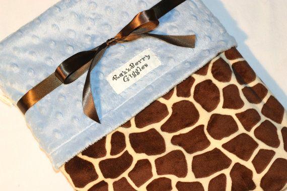 Double Minky Baby Blanket  Safari Giraffe Baby by RazzberryGiggles, $34.50