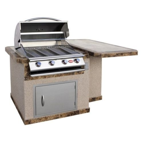 gas grill island set 4 burner propane outdoor kitchen table top bbq