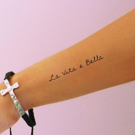 Tattoo Ideas Vita: La Vita E Bella Temporary Tattoo Life Is By
