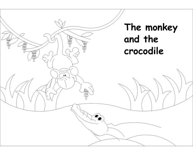 monkey and crocodile coloring pages enjoy coloring