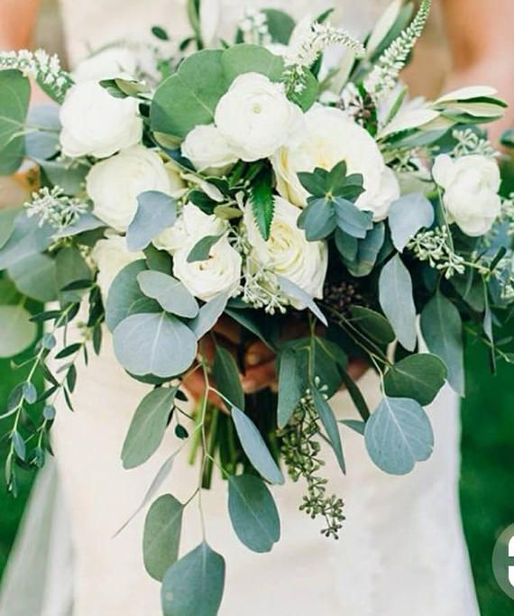 Cascading Classic Wedding Bouquet Floral Package Deal Babies Eucalyptus Wedding Bouquet Wedding Bouquets Eucalyptus Wedding
