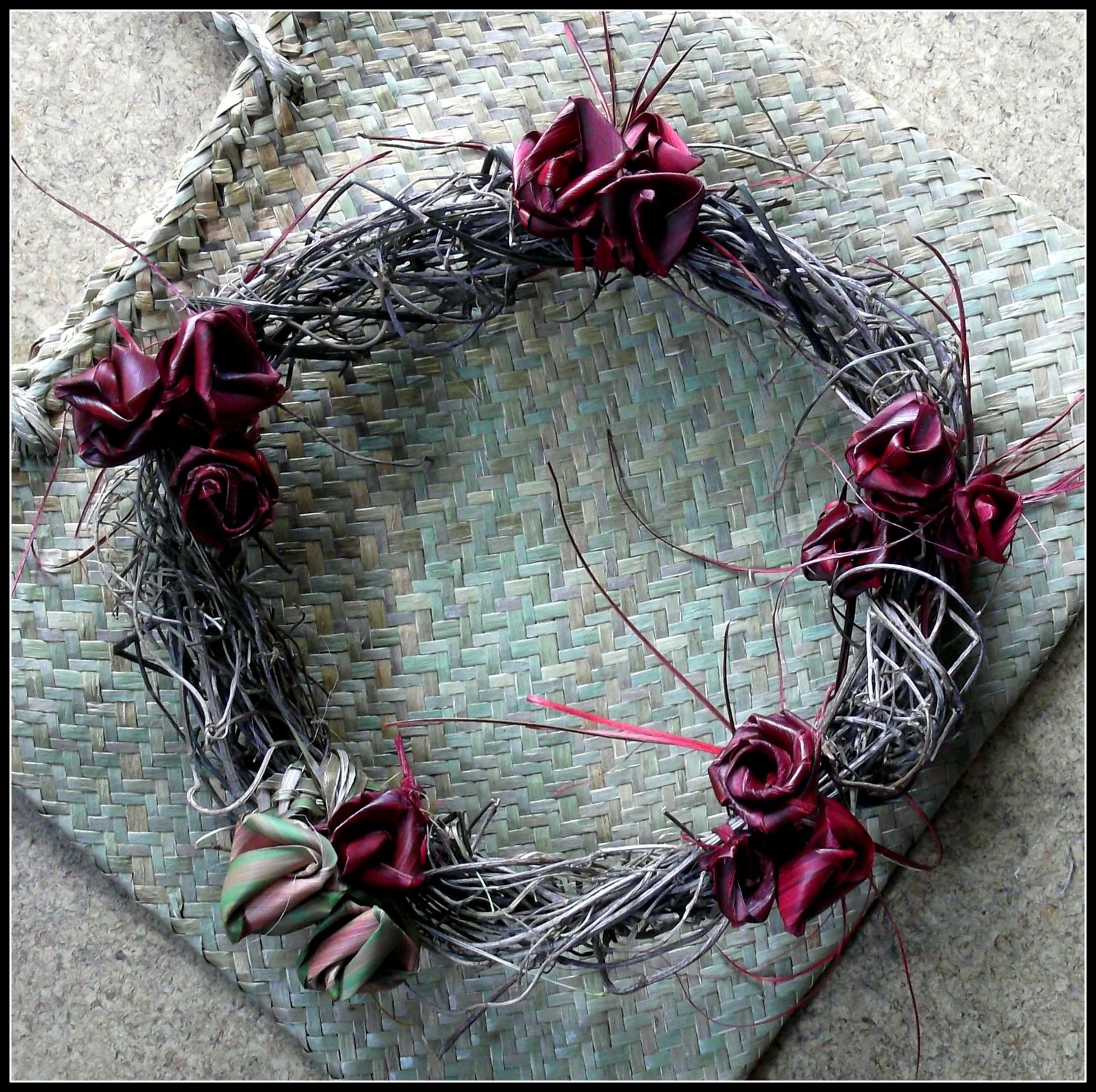 wreath made with harakeke roses