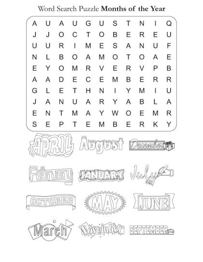 Word Search Puzzle Months of the Year Download Free Word Search