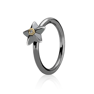 3a10f0e9e Stella oxidized silver ring ring with14K gold and 0.015 ct Diamond. Product  no.190845D #pandora #jewellery #jewelry #stars #SilverBraceletEngraving