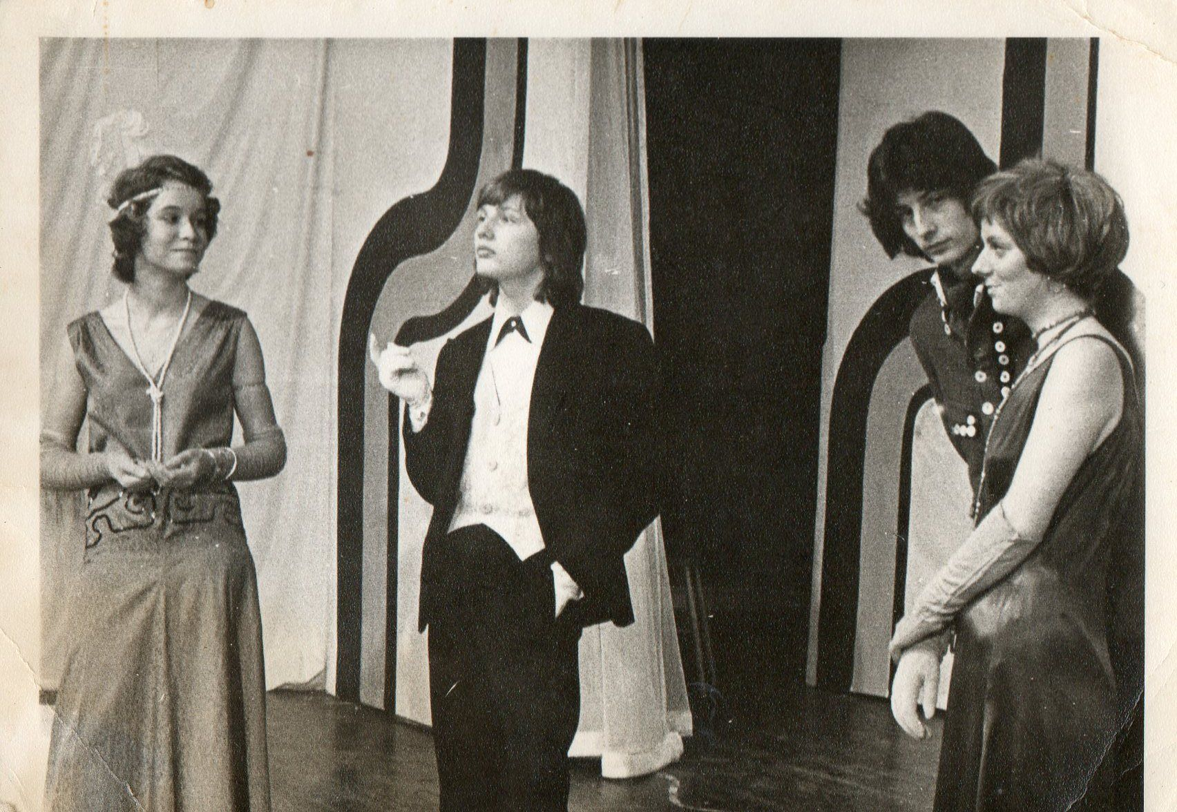 Lidbury centre picture: Type cast? as a homosexual character in a school play 1976 in a 1930' rendition of 'As you like it'