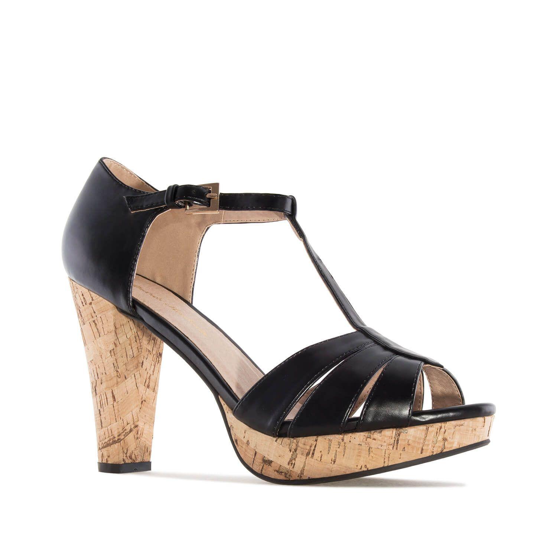 T Bar Sandalette in Soft Schwarz mit Kork Absatz Damen