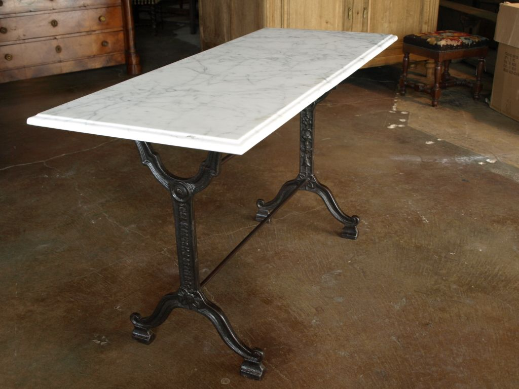 French Bistro Console Table With Cast Iron Base And Marble Top
