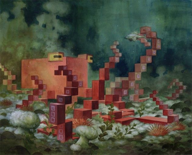 Menagerie, 3D pixels paintings by Laura Bifano