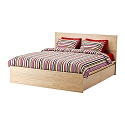 Malm Cadre Lit Haut 4rgt Plaque Chene Blanchi 160x200 Cm Ikea In 2020 Malm Bed Frame High Bed Frame Malm Bed