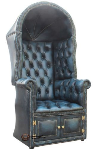 Chesterfield Porters Chair Antique Blue Leather Hotel