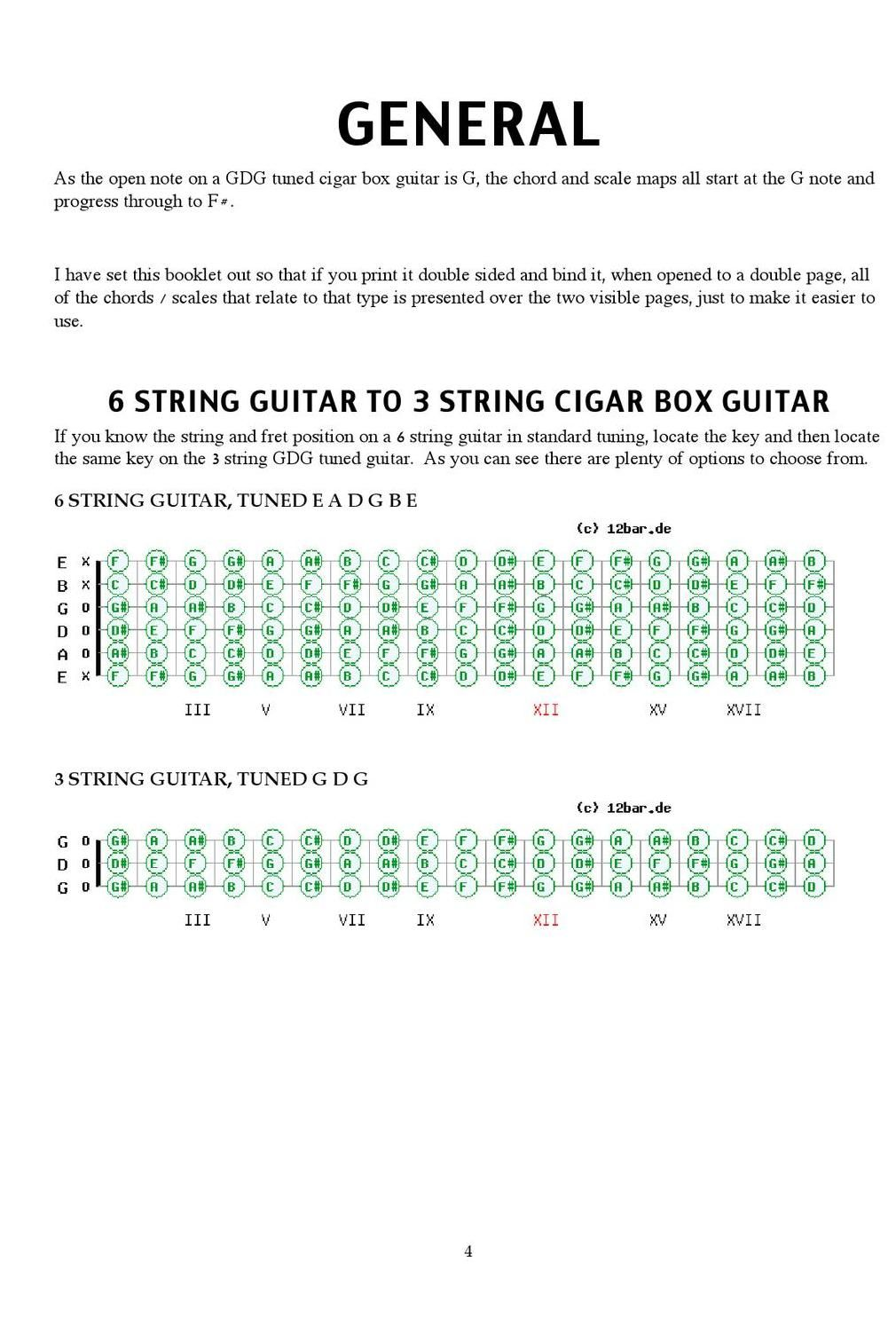 Gdg 3 String Cigar Box Guitar Scales And Chords Guitar Pinterest