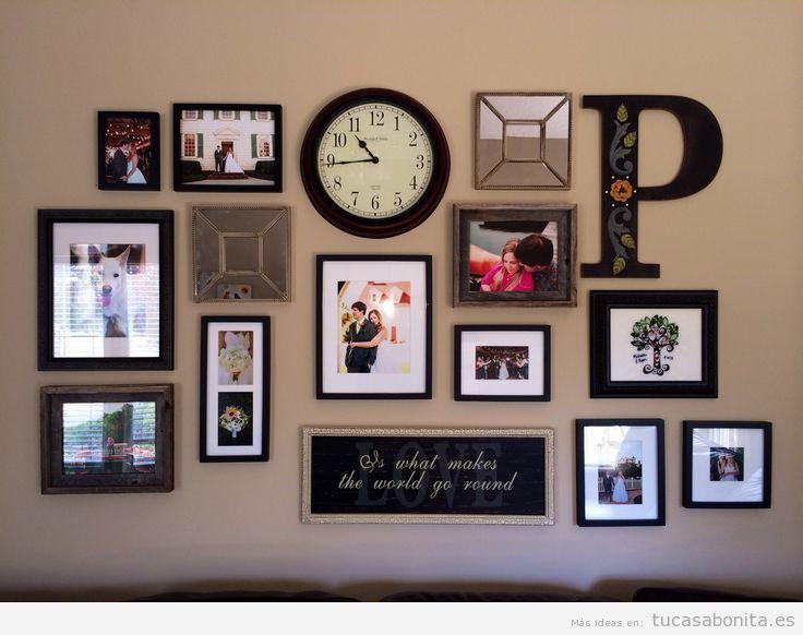 Ideas decorar pared sal n con mural de fotos letras y - Reloj para salon ...