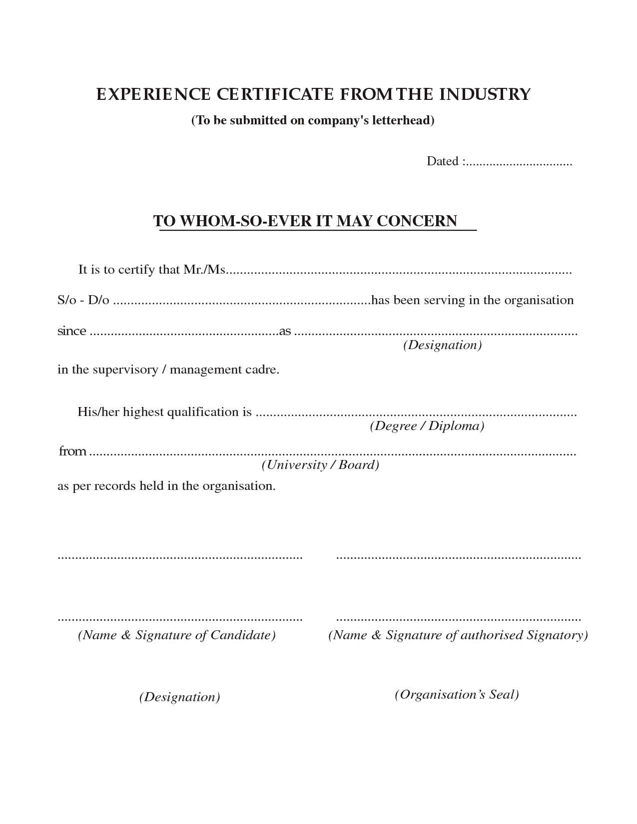 Application For No Objection Certificate For Job Prepossessing Job Experience Certificate Format  Job  Pinterest  Certificate
