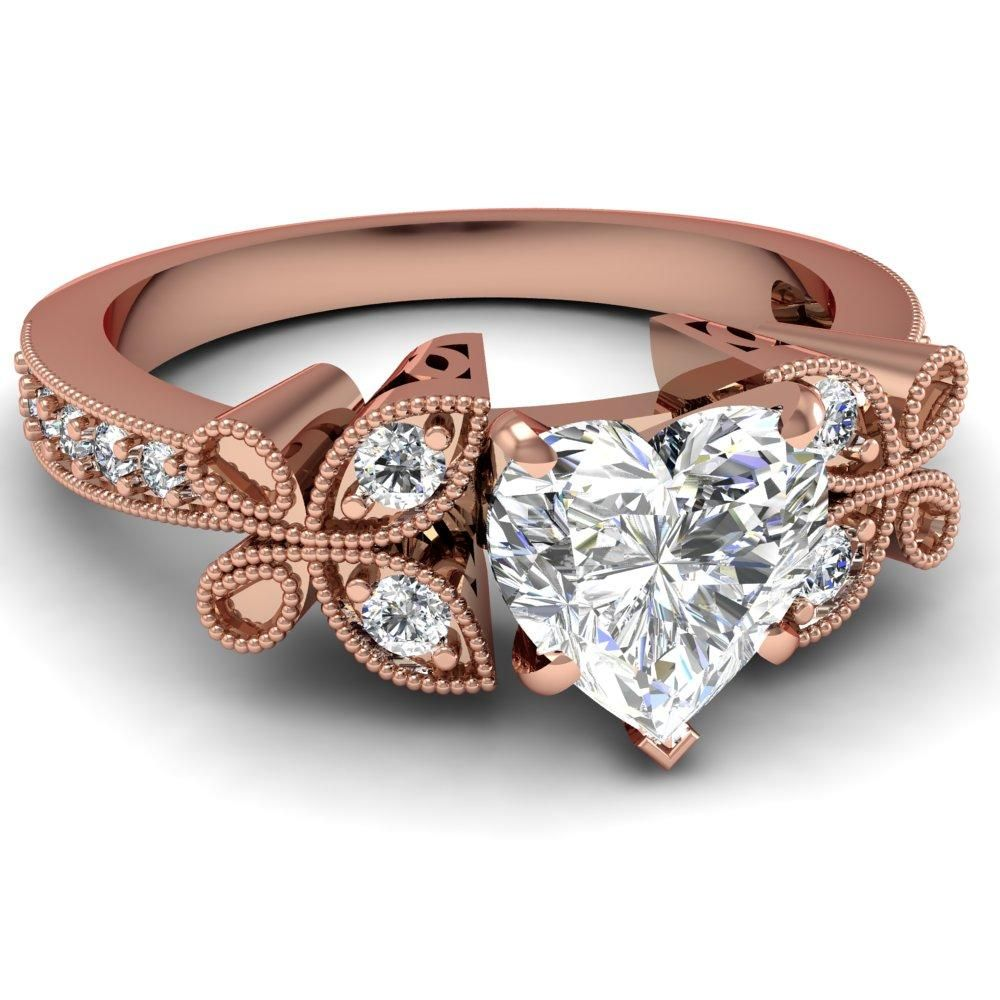 rose shaped wedding ring heart shaped diamond - Rose Shaped Wedding Ring