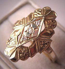 Antique Art Deco Diamond Ring Vintage Gold 1920