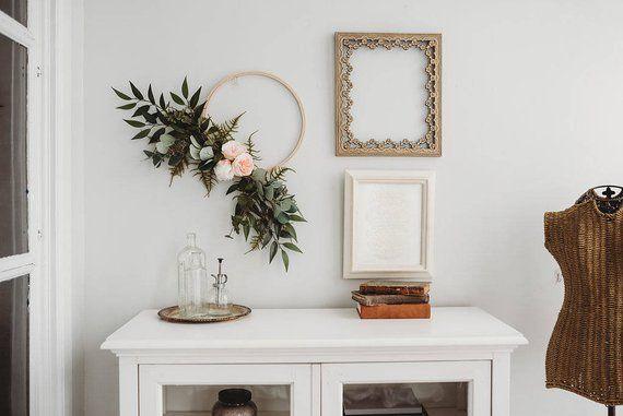 Photo of Modern Wreath – Eucalyptus Wreath – Asymmetrical Wreath – Wedding Decor – Gallery Wall Decor – Embroidery Hoop Wreath – Modern Wall Hanging
