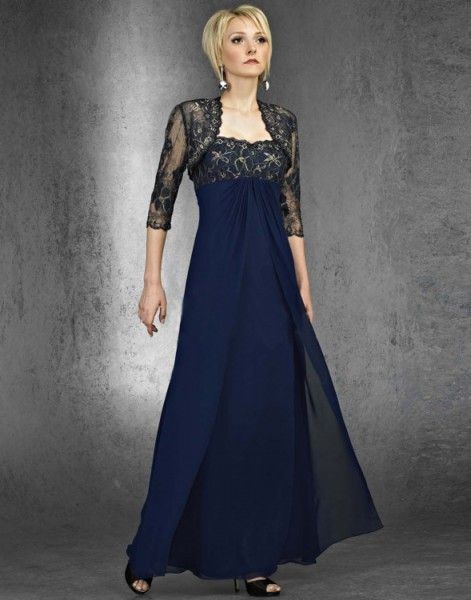 mother of the bride navy Blue dresses with cap sleeves, empire ...