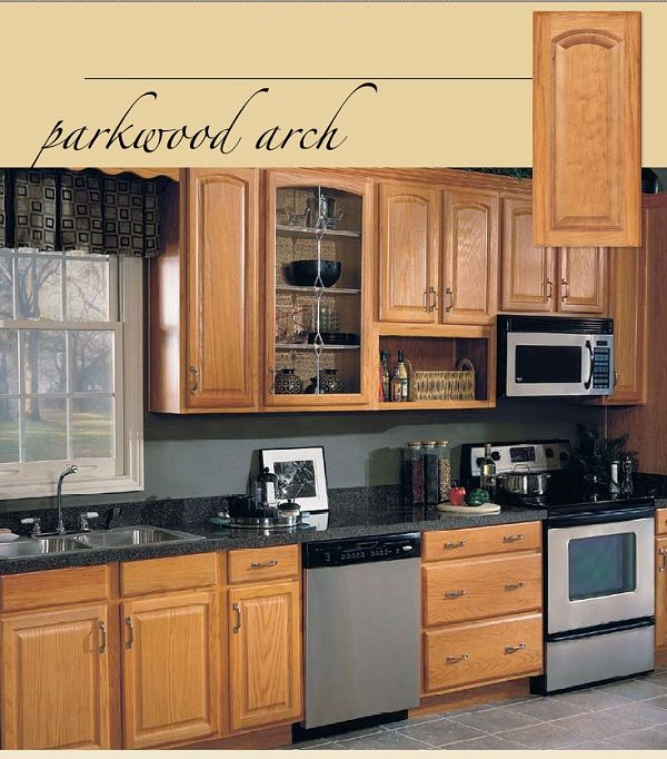 Oak Kitchen Cabinets | Parkwood Arch Oak Base Kitchen Cabinets